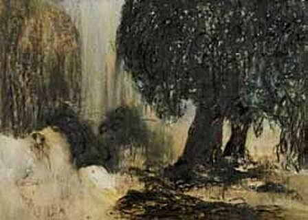 "<p><span class=""viewer-caption-artist"">Ziad Dalloul</span></p> <p><span class=""viewer-caption-title""><i>Two Mulberry Trees</i></span>, <span class=""viewer-caption-year"">2012</span></p> <p><span class=""viewer-caption-media"">Oil on Parchment Paper</span></p> <p><span class=""viewer-caption-dimensions"">50 x 70 cm (19 5/8 x 27 1/2 in.)</span></p> <p><span class=""viewer-caption-inventory"">ZID0062</span></p> <p><span class=""viewer-caption-aux""></span></p>"