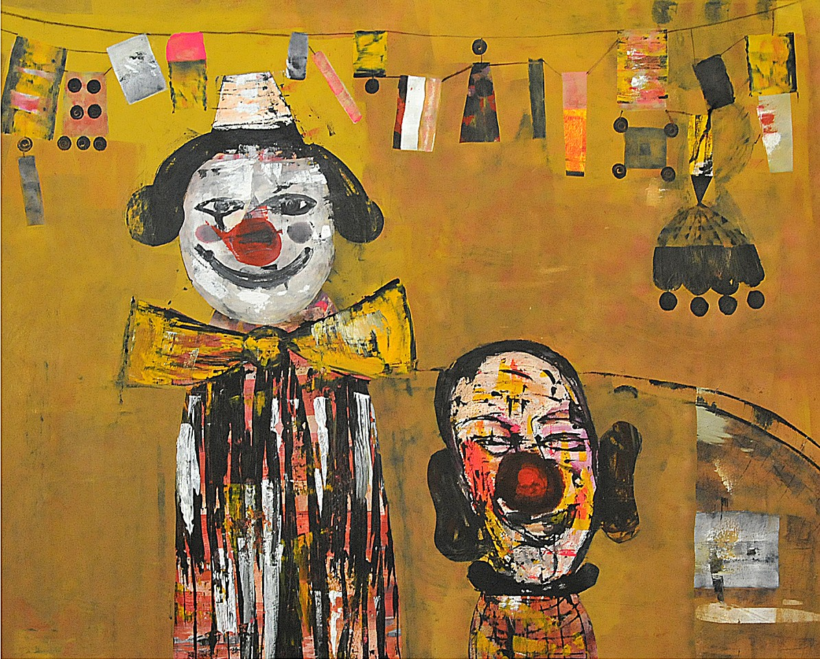 "<p><span class=""viewer-caption-artist"">Raouf Rifai</span></p> <p><span class=""viewer-caption-title""><i>Florescent Clowns</i></span>, <span class=""viewer-caption-year"">2011</span></p> <p><span class=""viewer-caption-media"">Acrylic on canvas</span></p> <p><span class=""viewer-caption-dimensions"">150 x 185 cm (59 x 72 7/8 in.)</span></p> <p><span class=""viewer-caption-inventory"">RAR0034</span></p> <p><span class=""viewer-caption-aux""></span></p>"