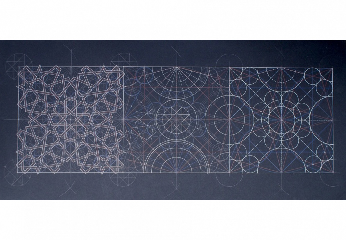 "<p><span class=""viewer-caption-artist"">Dana Awartani</span></p> <p><span class=""viewer-caption-title""><i>Geometric Progression Piece #1</i></span>, <span class=""viewer-caption-year"">2012</span></p> <p><span class=""viewer-caption-media"">Pencil and pen on mount board</span></p> <p><span class=""viewer-caption-dimensions"">100 x 100 cm (39 3/8 x 39 3/8 in.)</span></p> <p><span class=""viewer-caption-inventory"">DAN0002</span></p> <p><span class=""viewer-caption-aux""></span></p>"