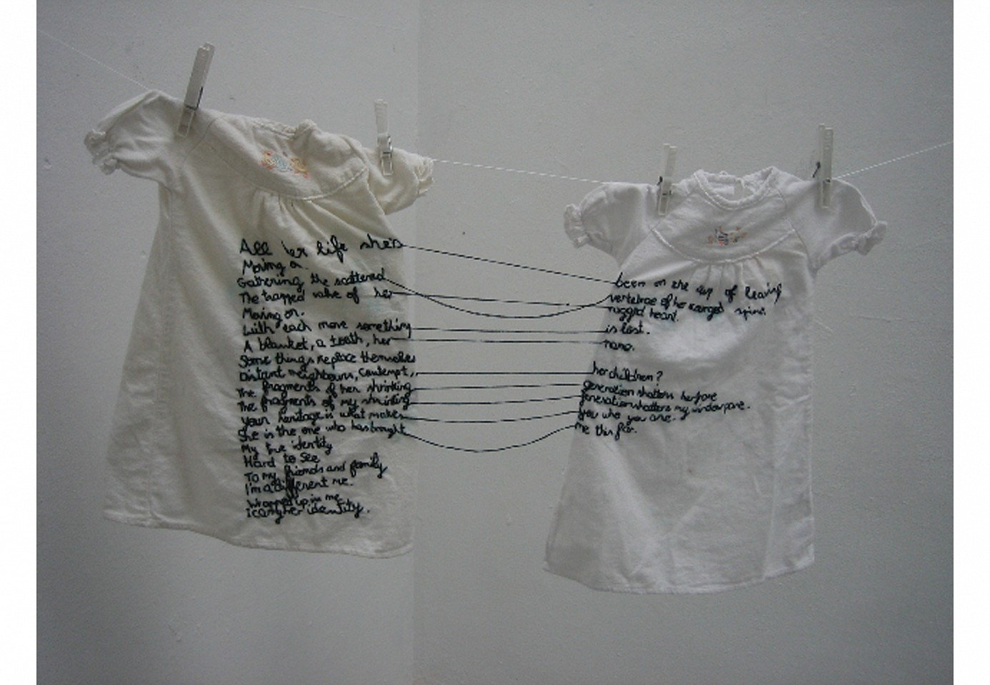 "<p><span class=""viewer-caption-artist"">Aya Haidar</span></p> <p><span class=""viewer-caption-title""><i>The Stitch is Lost Unless the Thread is Knotted</i></span>, <span class=""viewer-caption-year"">2008</span></p> <p><span class=""viewer-caption-media"">Shirts and thread</span></p> <p><span class=""viewer-caption-inventory"">AYH0060</span></p> <p><span class=""viewer-caption-aux""></span></p>"