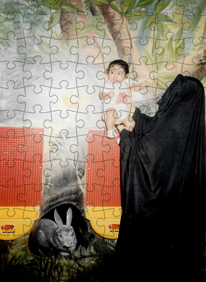 "<p><span class=""viewer-caption-artist"">Sarah Abu Abdallah</span></p> <p><span class=""viewer-caption-title""><i>The Artist Being Held By Her Mother from the series Sanabises</i></span>, <span class=""viewer-caption-year"">2017</span></p> <p><span class=""viewer-caption-media"">Puzzle pieces (2mm cardboard and with a glossy coated image surface)</span></p> <p><span class=""viewer-caption-inventory"">SAA0025</span></p> <p><span class=""viewer-caption-aux""></span></p>"